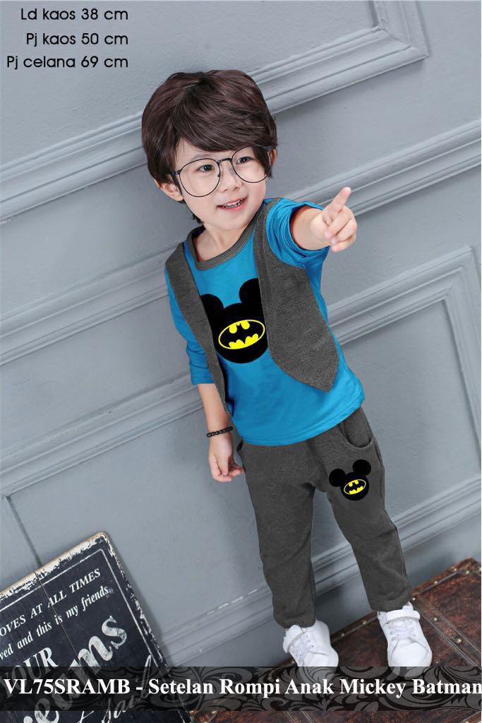 vlovi kaos anak laki karakter batman murah setelan baju santai main anak cowok VL75SRAMB   KAOS BATMAN fit 3-5 tahun