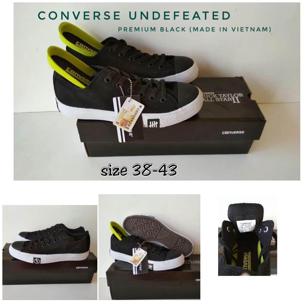 sepatu converse premium undefeated MADE IN VIETNAM low black size 38-43