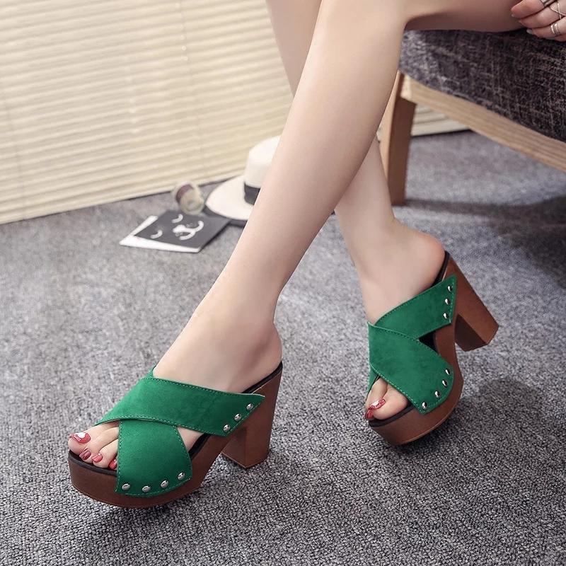 Ginshashop - Sepatu Wanita High Heels Studed GHS - DR Hijau Heels Hak Tinggi    Sepatu 0c0852a752