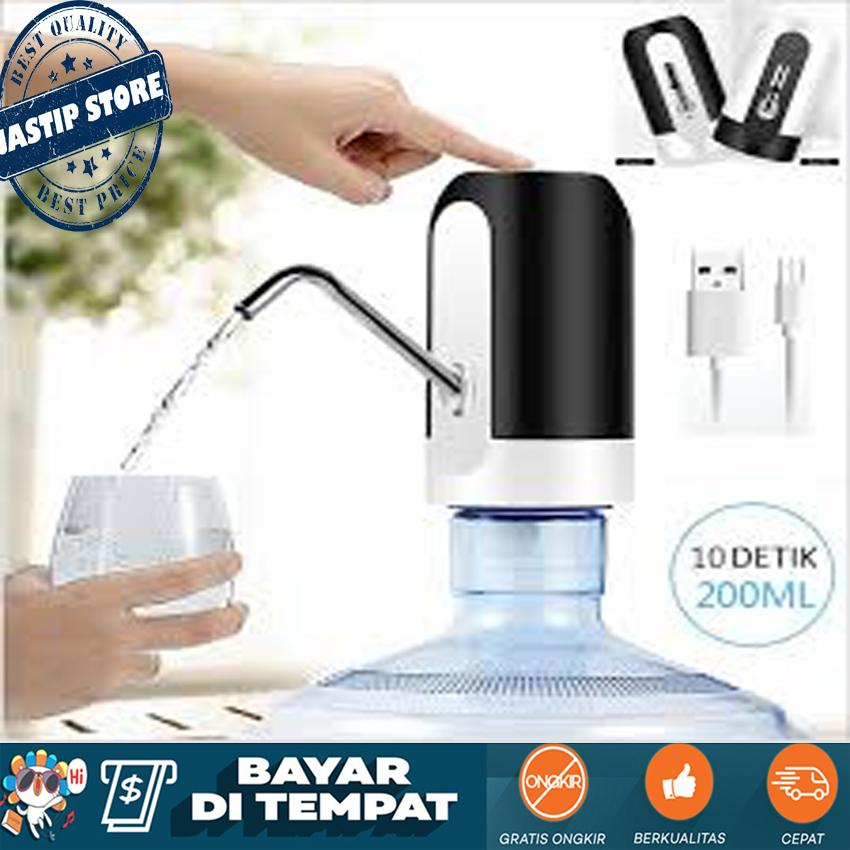 Pompa Galon Elektrik Pompa Air Minum Rechargable Electric Water Dispenser Pump With Micro USB Cable - Hitam