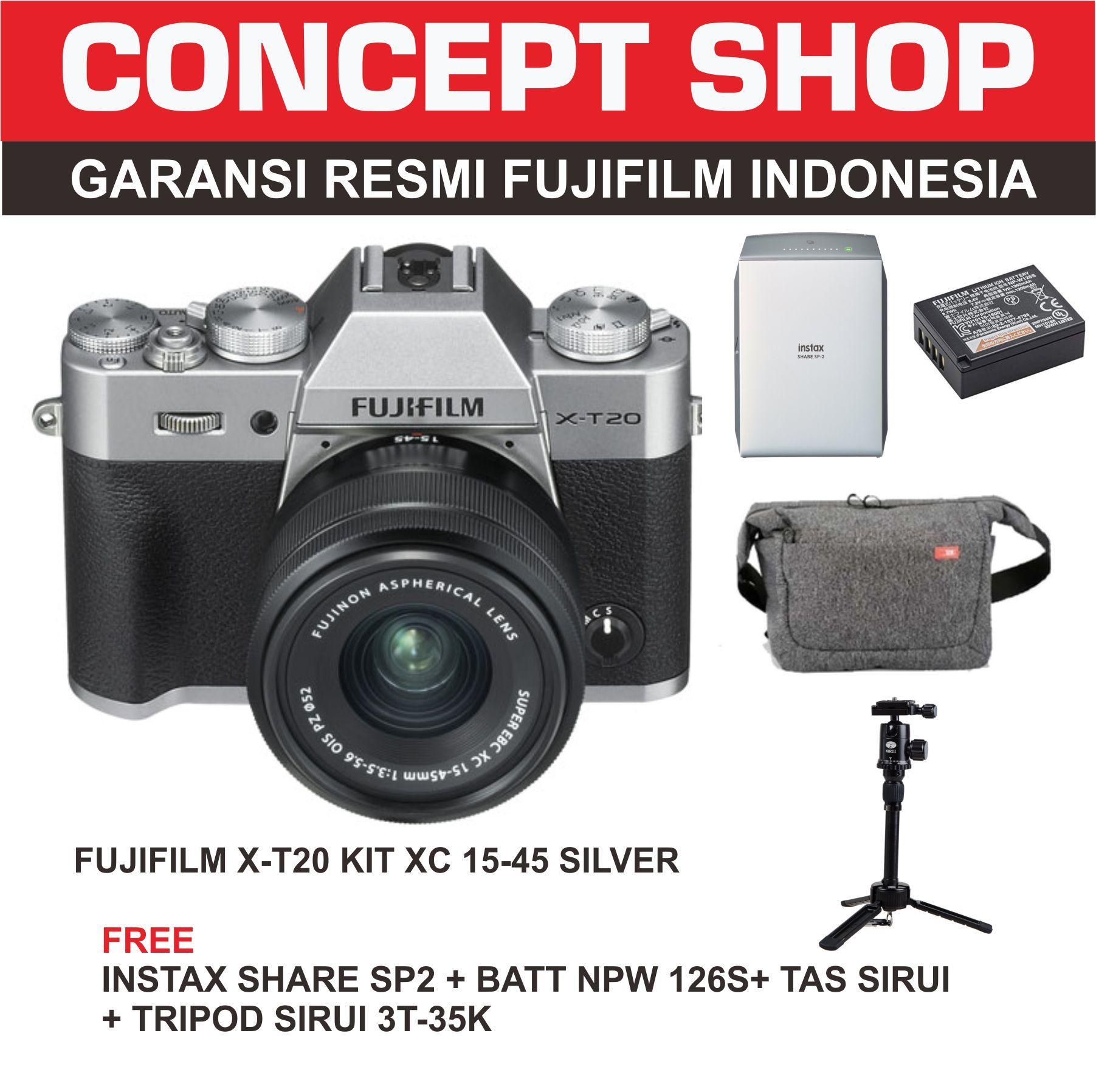 Fujifilm Xt 20 Mirrorless Camera With Kit Xc 18 55mm Hitam Instax X T100 Xc15 45mm F35 56 Ois Pzdark Silver Pwp Xf50 F2 T20 15 Xt20