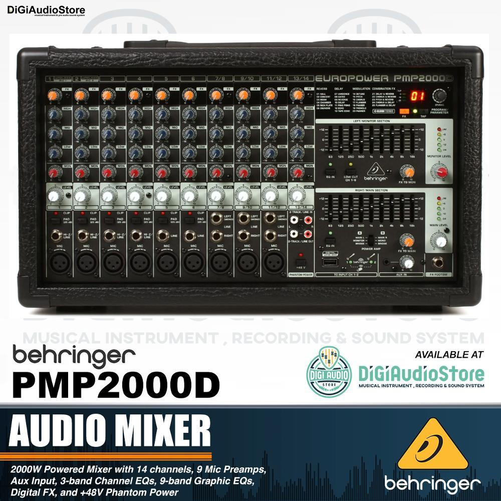 Behringer PMP 2000 D Powered Power Mixer Audio 14 Channel 2000 Watt with Effect Equalizer and Wireless Option - Speaker Pasif