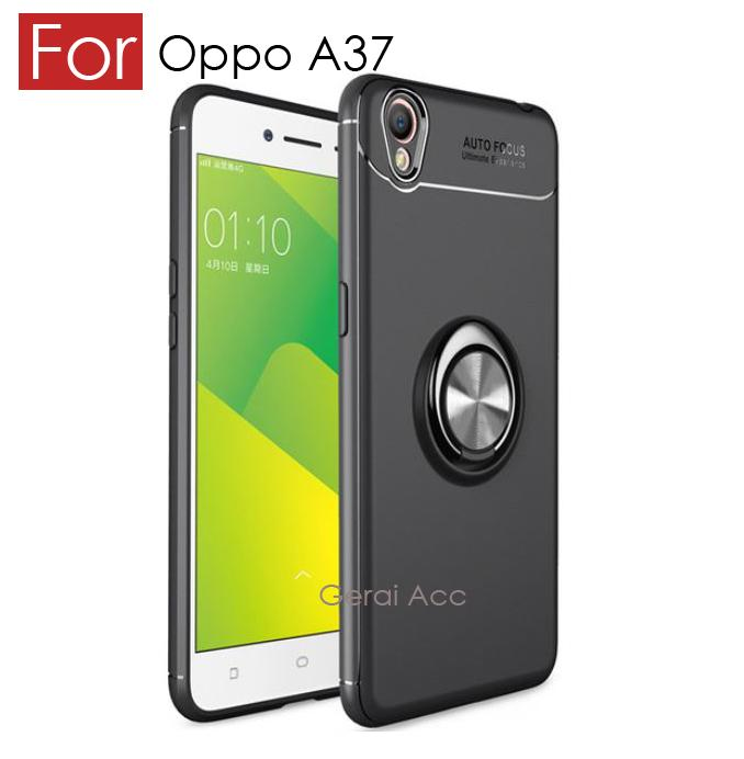 Accessories Hp Oppo A37 / Oppo Neo 9 Premium Socket Case BackCover Anti ShockProof 360 Rotation - Hitam
