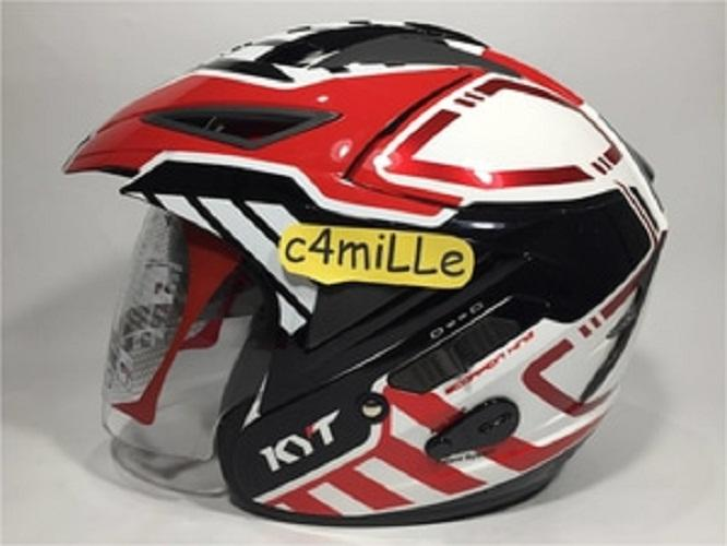 HELM KYT SCORPION KING R MOTIF #7 WHITE RED DOUBLE VISOR HALF FACE
