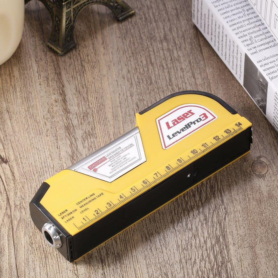 Desain dengan fungsi penguncian, lebih nyaman untuk digunakan. Dengan penggaris standar. 2.5 Meters (8-kaki) panjang pengukuran tape. Dengan sinar laser ...