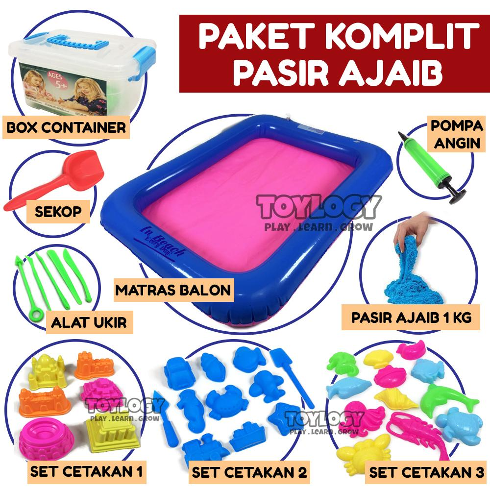 Toylogy Mainan Anak Paket Pasir Ajaib Kinetik 1 kg - Box Alas Pompa Cetakan Sekop Alat Ukir