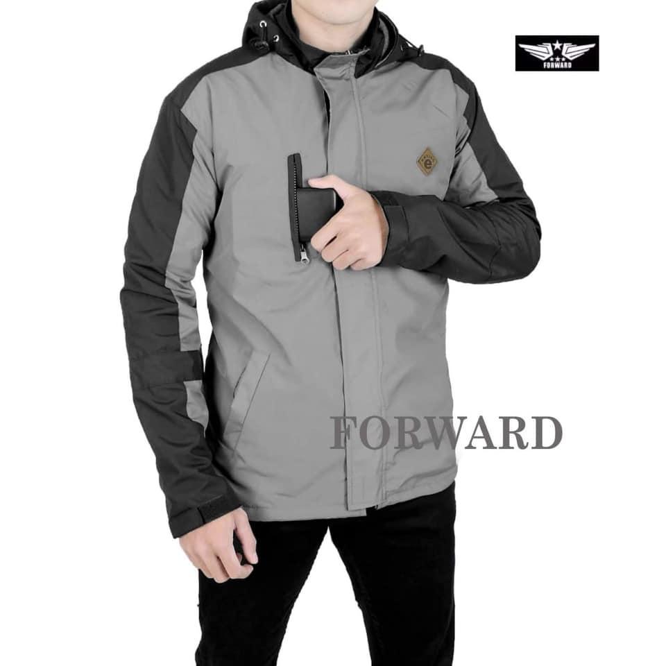 Forwad Jaket Parasut Bolak-Balik Navy Pria-Dark Grey