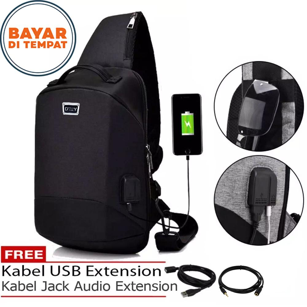 Tas Pria Tas Ransel Pria Tali Satu Tas Slingbag Tas Tali Satu Tas Selempang Pria Tas Waistbag Polo Danny XW006 Tas USB Tas Charger Tas Audio Musik Tas Notebook Tas Outdoor Tas Polo Import Original - Black + Kabel USB Extension + Kabel Jack Audio Extension