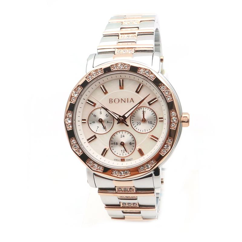 Bonia - Jam Tangan Wanita - Silver Komb Rosegold-Putih - Stainless Steel - BNB10427