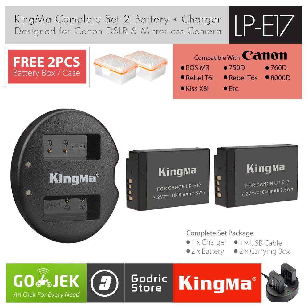 KingMa Paket Complete Battery Charger Set LP-E17 for Canon EOS M3 M5 M6 200D