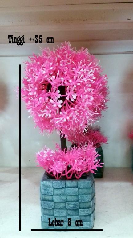 SangAdam Bunga Bonsai PINK dengan pot untuk hiasan ruang tamu dan kantor d86ef1365a