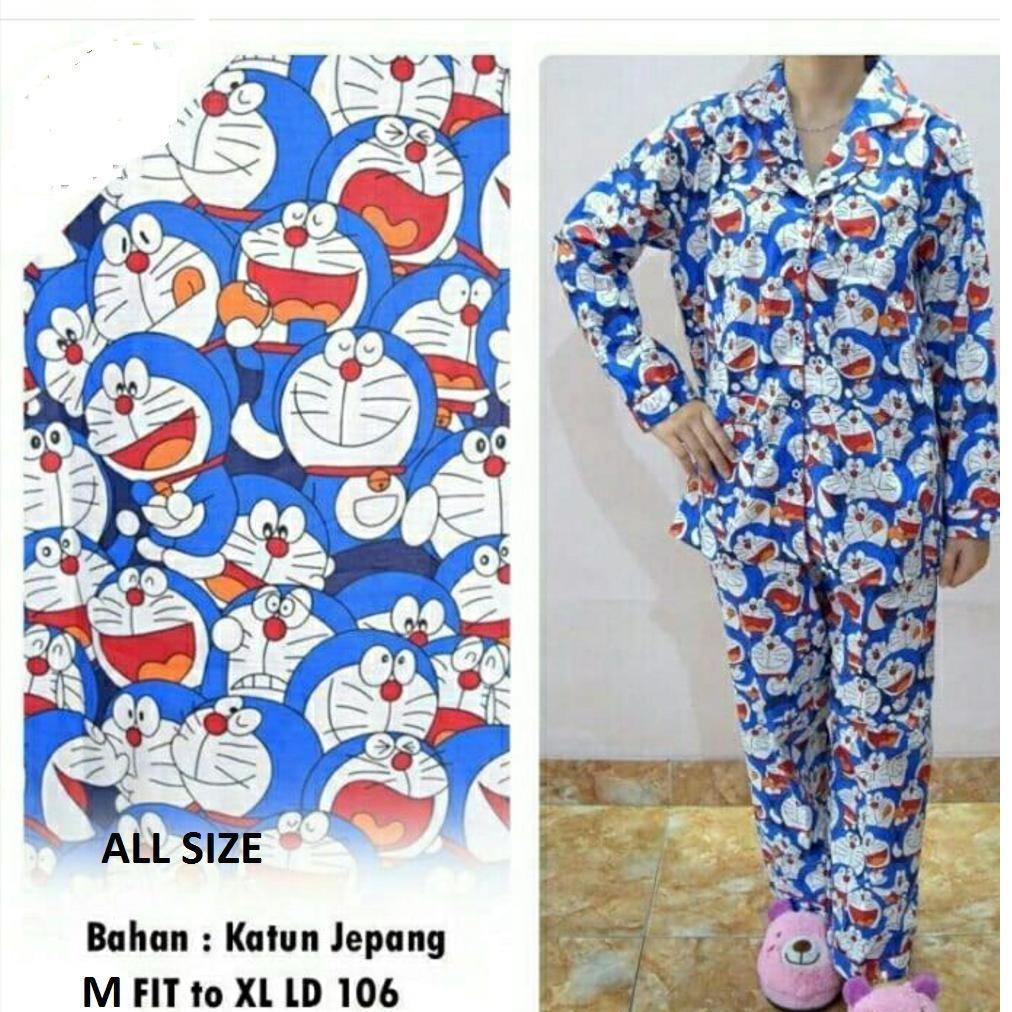 Baju Tidur Motif Doraemon - Baju Santai Lengan Panjang Wanita All Size - Fit To XL