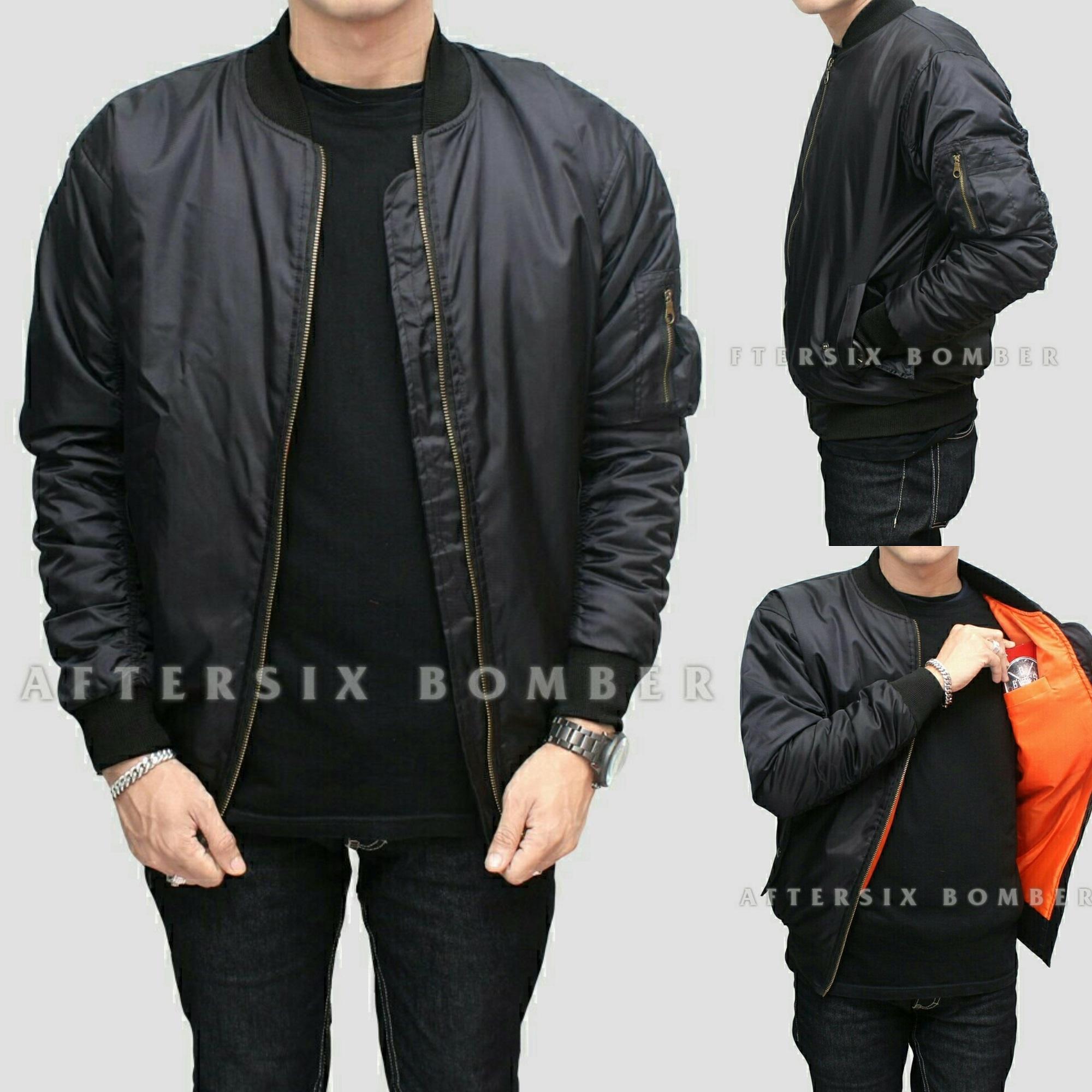 Jaket pria XXL XXXL - Jaket bomber polos Big size - Hitam - Navy - Maroon 41a0abee22