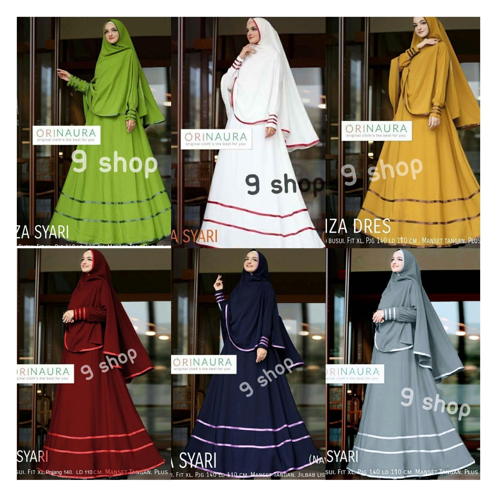 9 Shop Baju Gamis Syari Dress Maxi Muslim Wanita ONZA + Jilbab / Baju Muslim Wanita / Gamis Muslim / Dress Muslimah / Syari'i Muslimah / Gamis Dress / Gamis Emboss / Gamis Murah / Gaun Muslim / Gamis Remaja / Gamis Terbaru