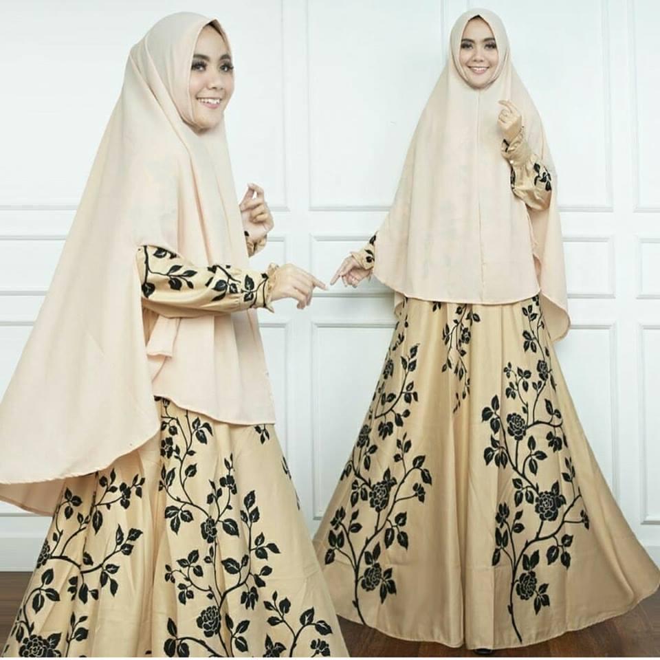 Maxi Dress Gamis Dewasa Syari Bunga Kecil Gold