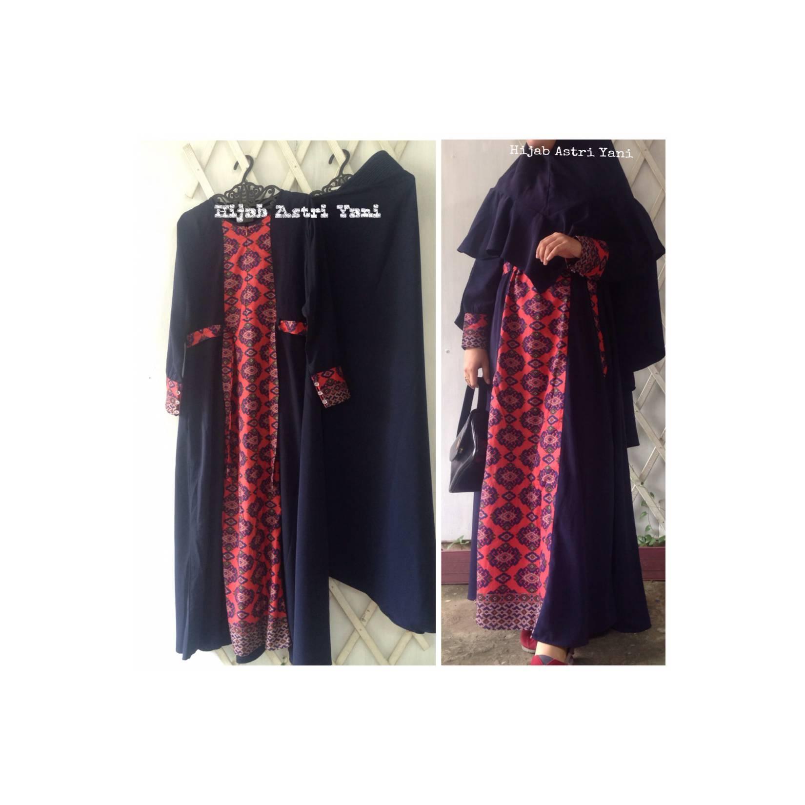 Gamis syari polos kombinasi motif batik +jilbab