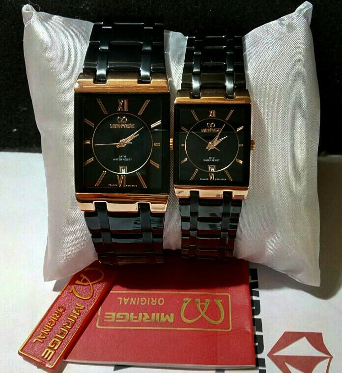 JAM TANGAN MIRAGE 7908 COUPLE ROSEGOLD BLACK ORIGINAL