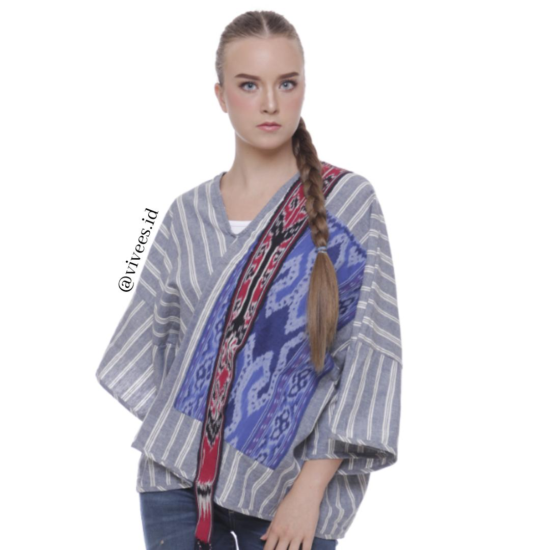 Vivees Linen Mix Batik Tenun Woman Wrapping Blouse - Multicolor