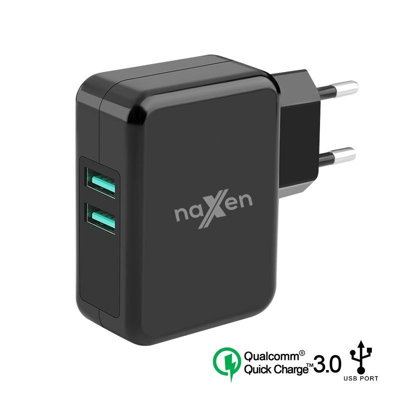 Naxen Qualcomm Quick Charge 3.0 2-Port USBTravel Charger Mobile Phone for iPhone 7 6S Samsung Xiaomi Oppo Vivo QC2.0 Phone