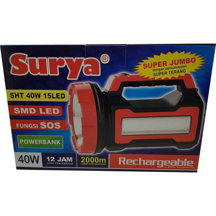 Senter Lampu LED Emergency Surya SHT Cahaya PUTIH Bisa POWER BANK