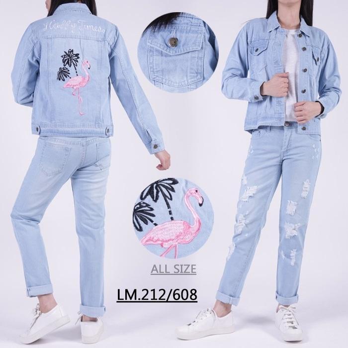 TERLARIS PREMIUM Jaket Jeans Flaminggo / Jaket Jeans Wanita / Jaket Denim