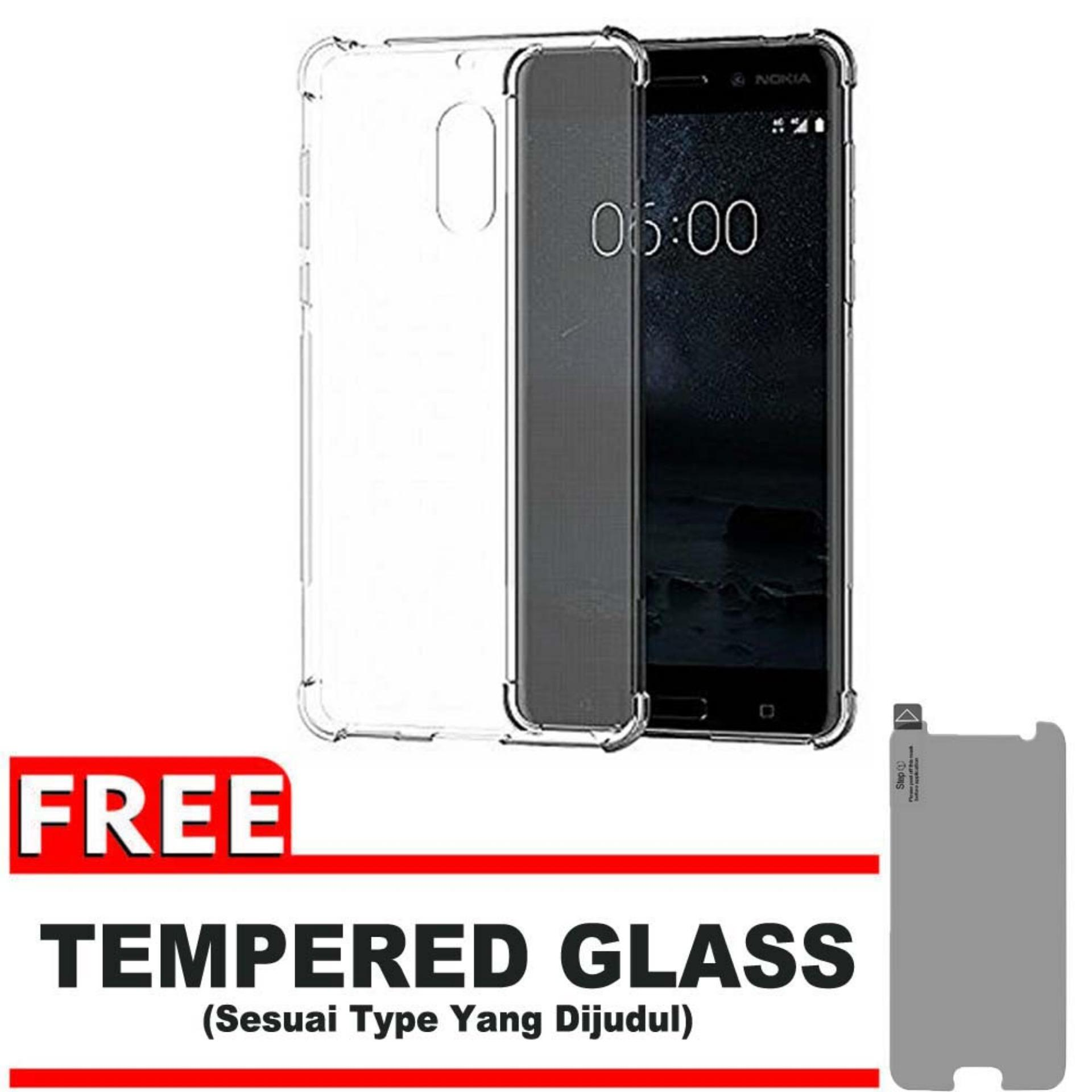 ShockCase for Nokia 6 | Premium Softcase Jelly Anti Crack Shockproof - Gratis Free Tempered Glass Protector - Transparan