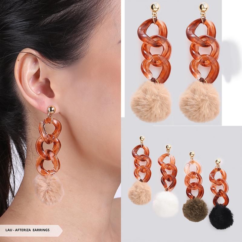 Afteriza Furry Pendulum Earrings - Army