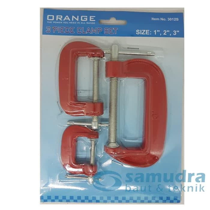 ORANGE KLEM C SET 3 PCS - CATOK PENJEPIT KAYU - C CLAMP SET