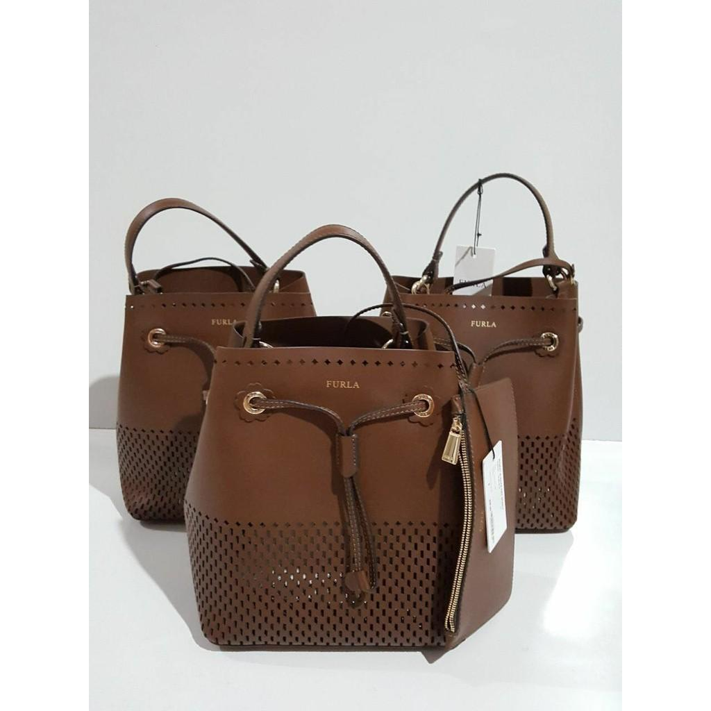 Jual Tas Furla Stacy Perforated Brown And White Original