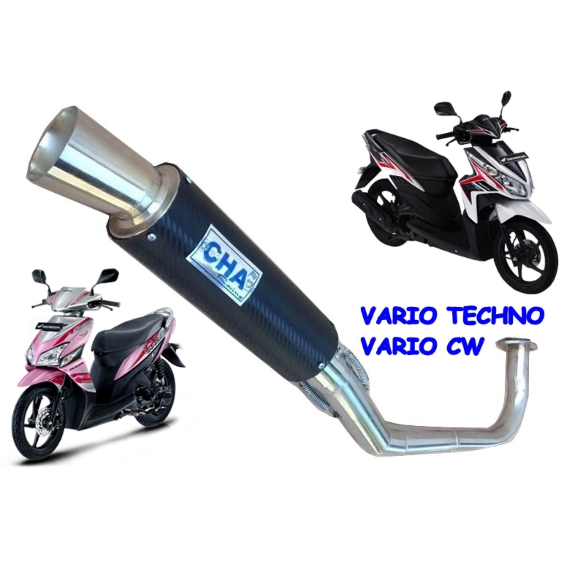 Jual Komponen Knalpot Emisi Kendaraan Lazada R9 Assen Honda New Mega Pro Full System Motor Vario Techno Cw 110 Cha Hitam Karbon