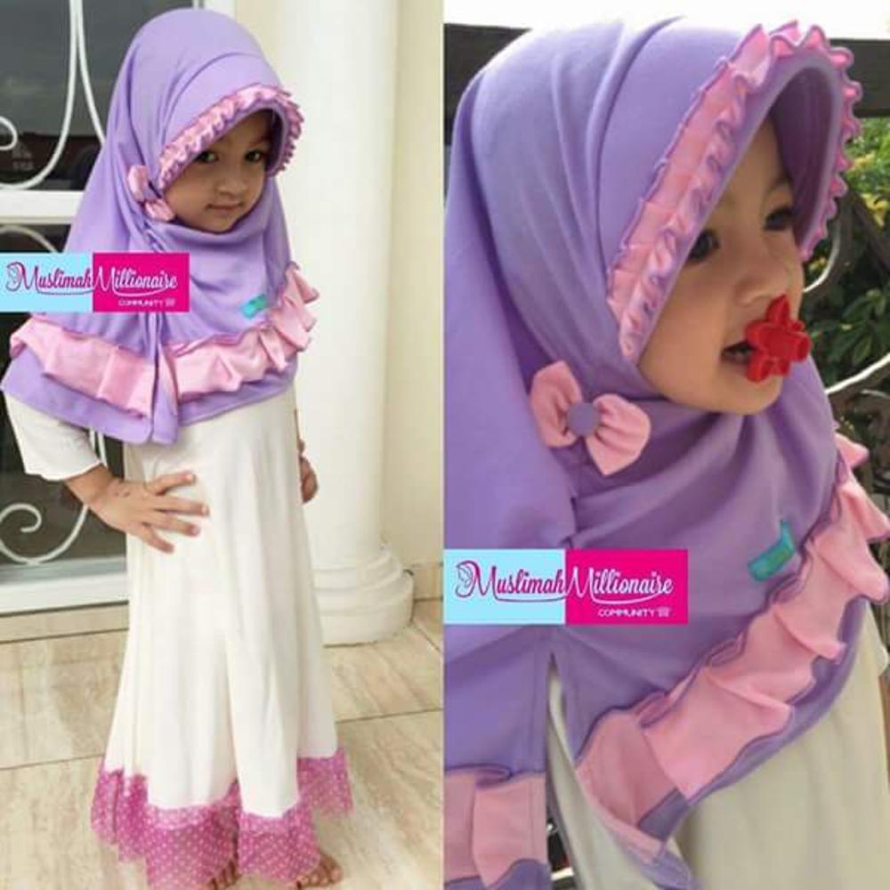 Jilbab Instan Anak Bergo Pet Rempel Popuri Violet