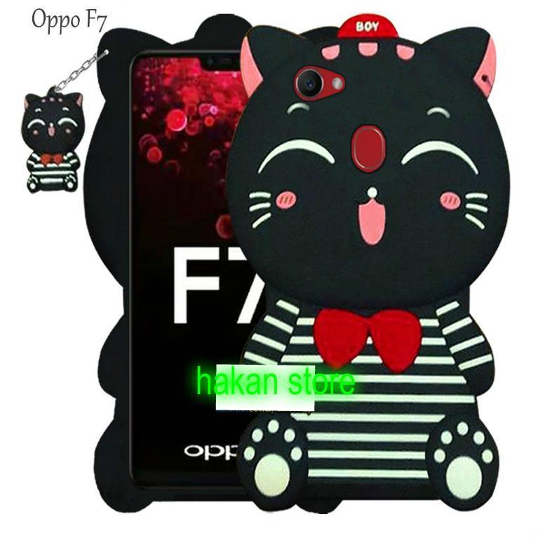 New Karakter For OPPO F7 Case Boneka Kucing 4D Mimi Cat Costum Smile/Hitam