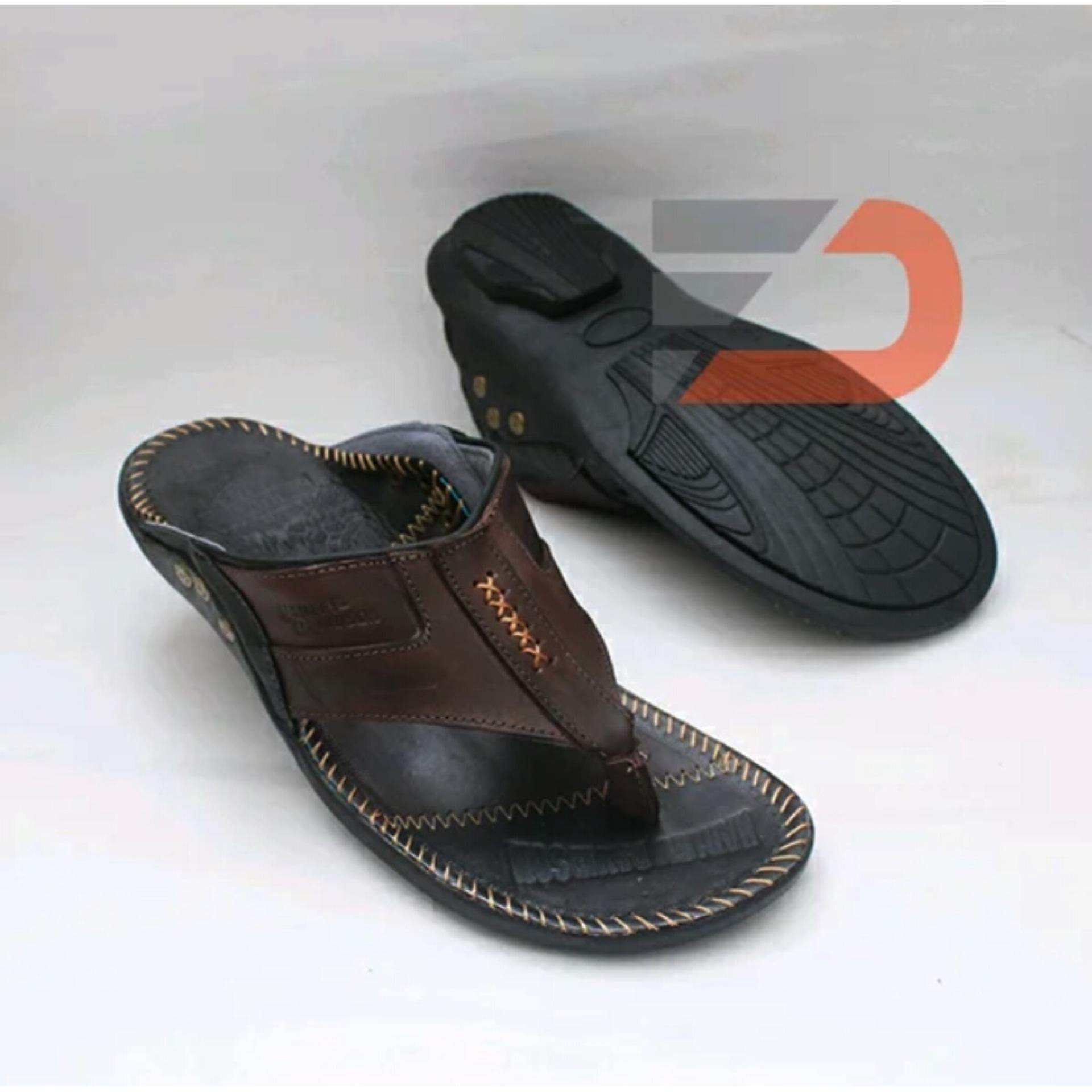 Sandal Santai Japit Pria Bahan Kulit Sapi Asli HR4