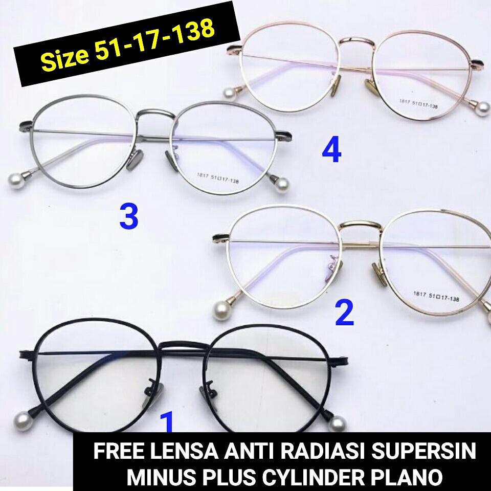 Frame Kacamata Mutiara 817 Kacamata baca kacamata bulat kacamata minus    plus  cylinder kacamata anti f6df807395