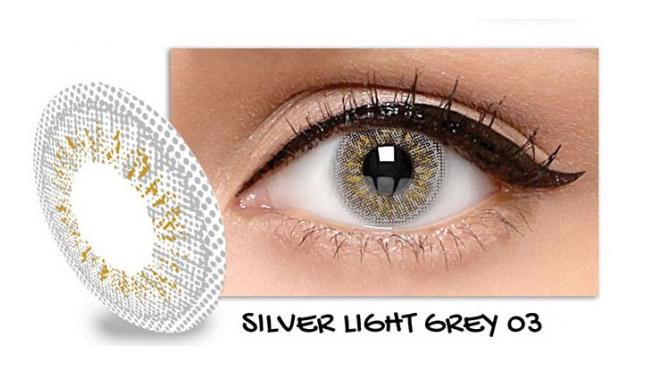 Exoticon Softlens by X2 ICE SILVER LIGHT GREY 03 / NO 3   - Minus 3.50