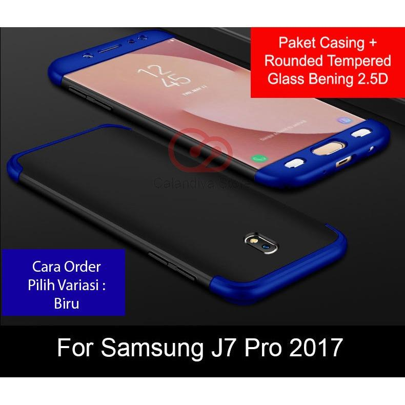 Calandiva Case Samsung Galaxy J7 PRO 2017 ( J730 ) Casing Premium Front Back 360 Degree Full Protection Quality Grade A + Tempered Glass layar depan 2.5D Bening
