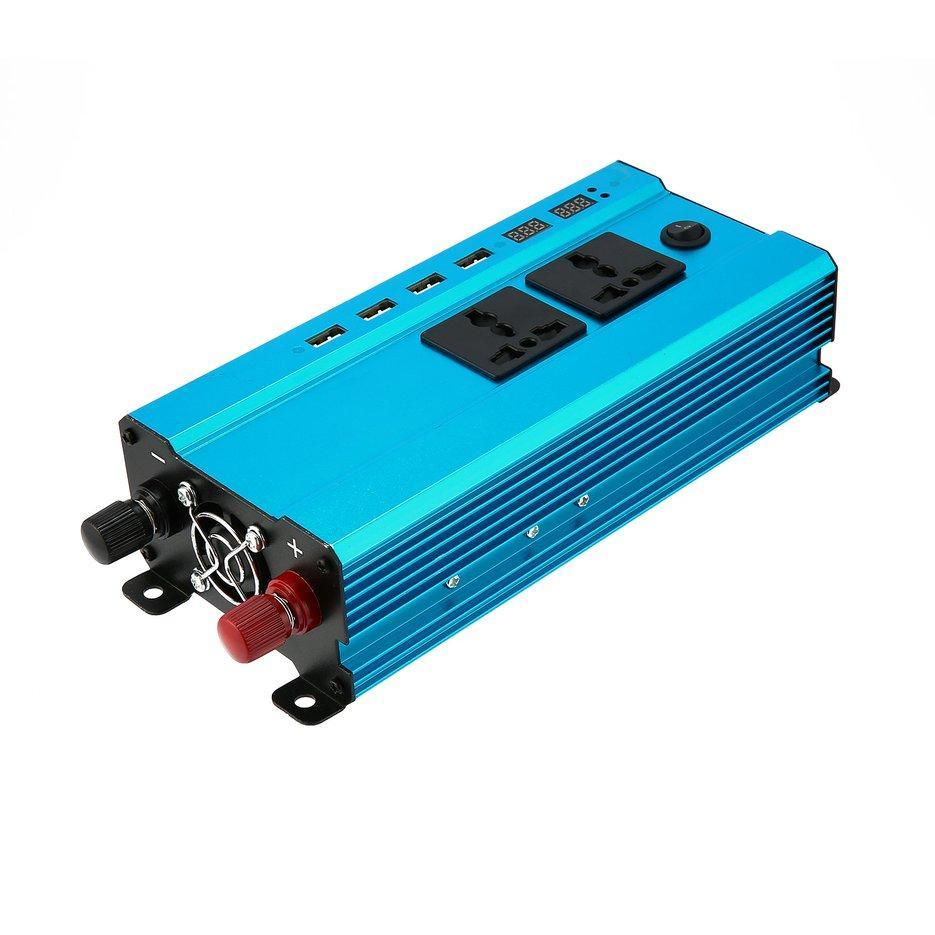 Wond 4000 W Pengalih Daya DC Ke AC Rumah Kipas Pendingin Pengonversi Mobil 4 Port USB Biru DC 12 V untuk AC 220 V