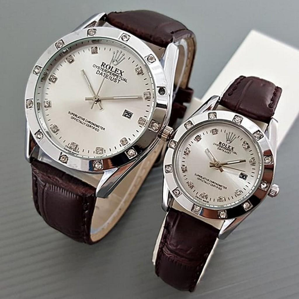 jam tangan couple / jam tangan couple anti air / jam tangan couple murah / jam tangan couple casio / jam tangan couple keren / jam tangan couple swiss army / Jam Tangan Rolex Couple Leather Brown Silver Harga Sepasang DISKON MURAH!!!