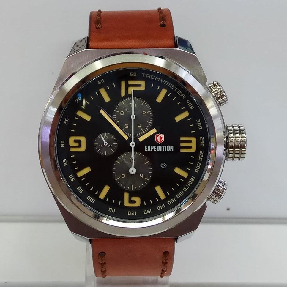 Jual Expedition Jam Tangan Pria E6356mc Chronograph E6372 Black Leather Brown Silver Strap