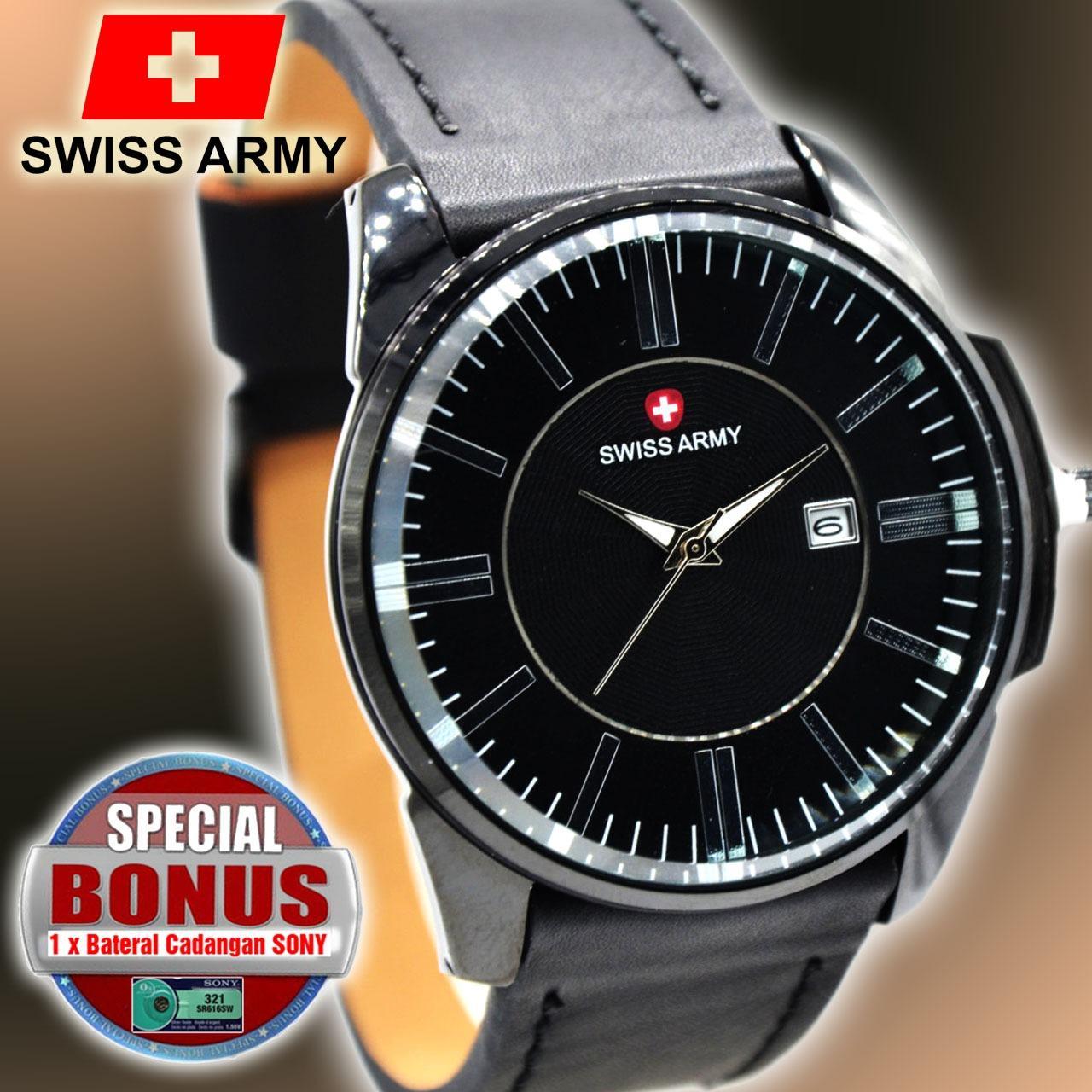 New Jam Tangan Pria Swiss Army TL 4124 Stainless Tali Kulit