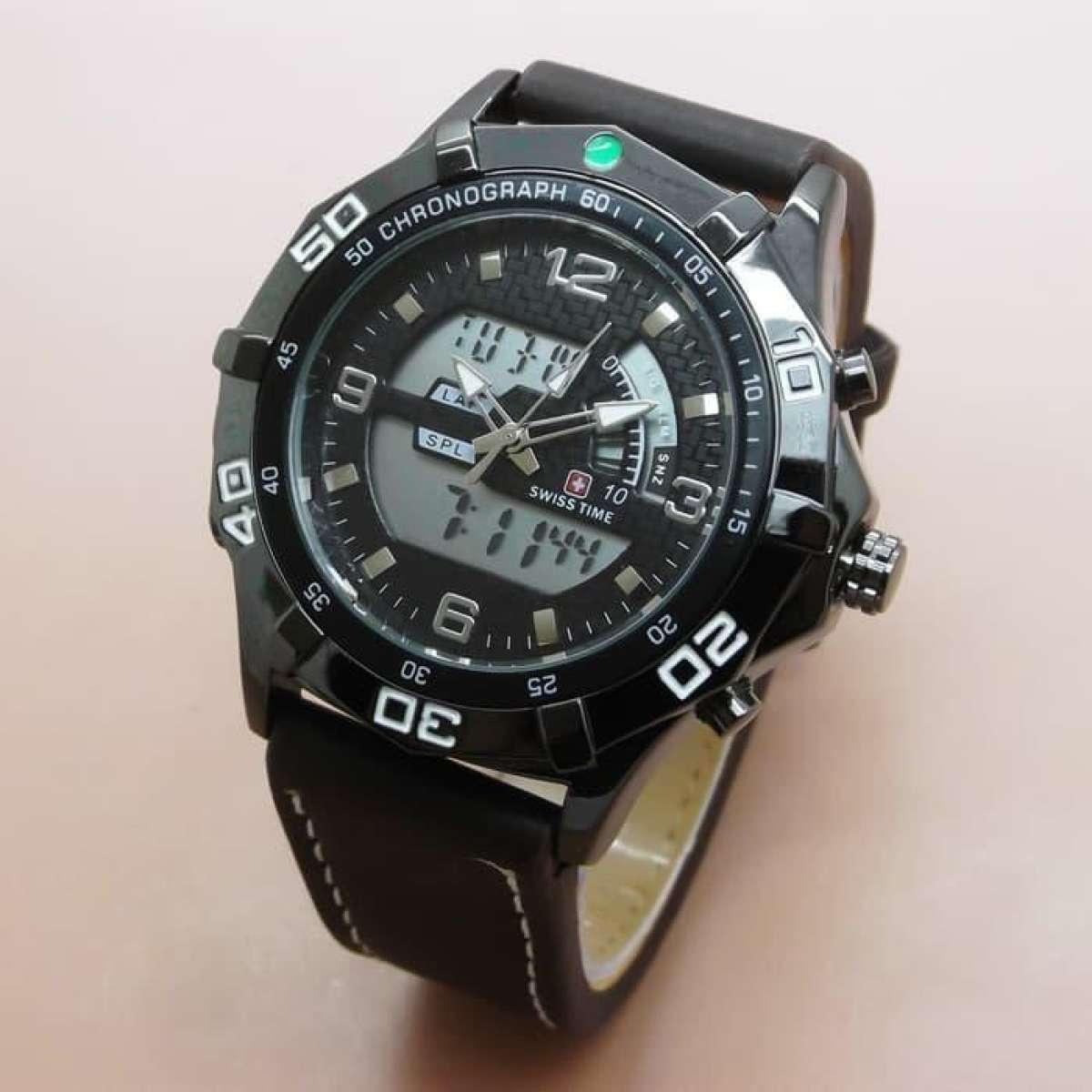 Swiss Time Jam Tangan Dual Pria Leather Strap Sa 666 Ad Brown Couple Army Daydate Rom Rantai Black Rose Jual