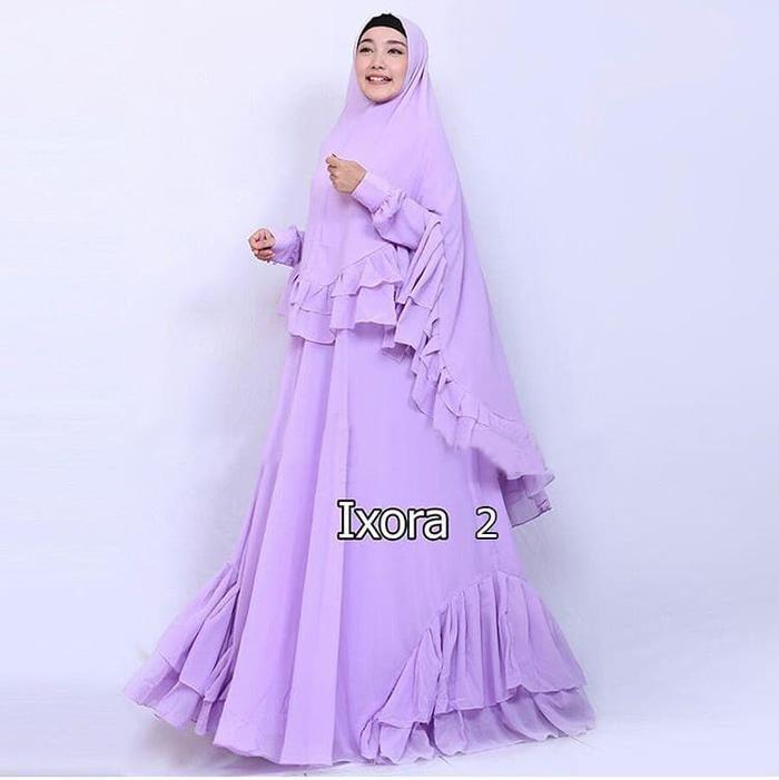 [Ixora Lilac GZ] Gamis Muslim Wanita Ceruti Lilac
