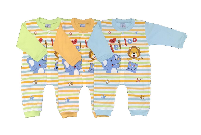 BAYIe - 3 PCS Baju Bayi model Jumper/Hansop lengan Panjang  motif Lucu FINACO usia 6 - 12 bulan 100% katun/pakaian Jumsuit bayi