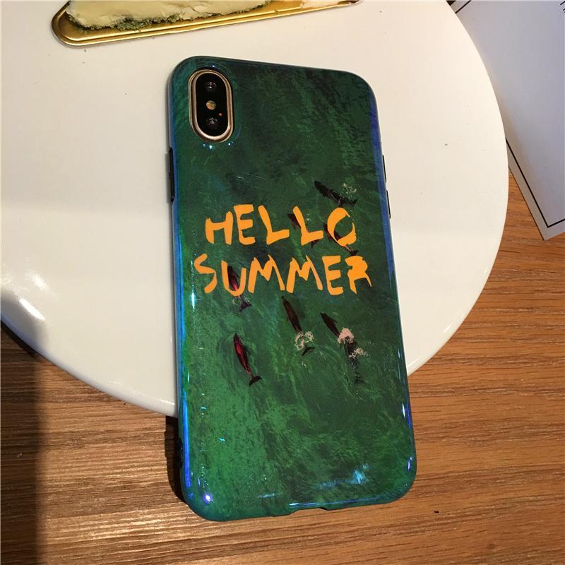 Selubung Ponsel Apple Identitas LEMBUT Sarung Iphone8 Plus Zamrud Asli Model Sama Cahaya Biru