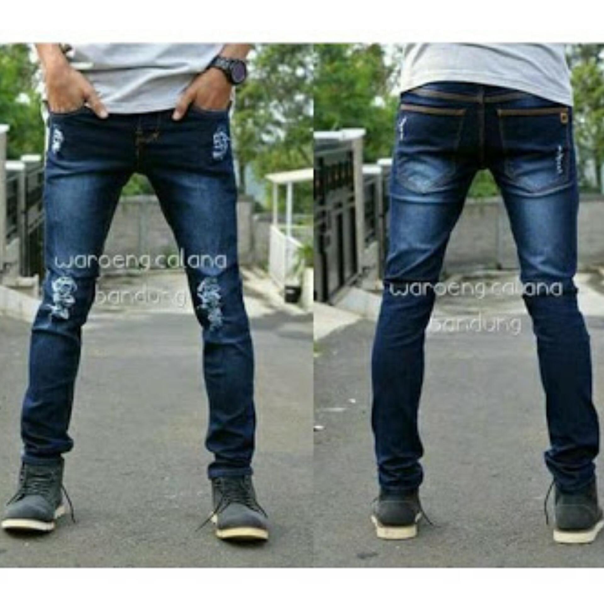 Celana jeans panjang sobek ripped best seller
