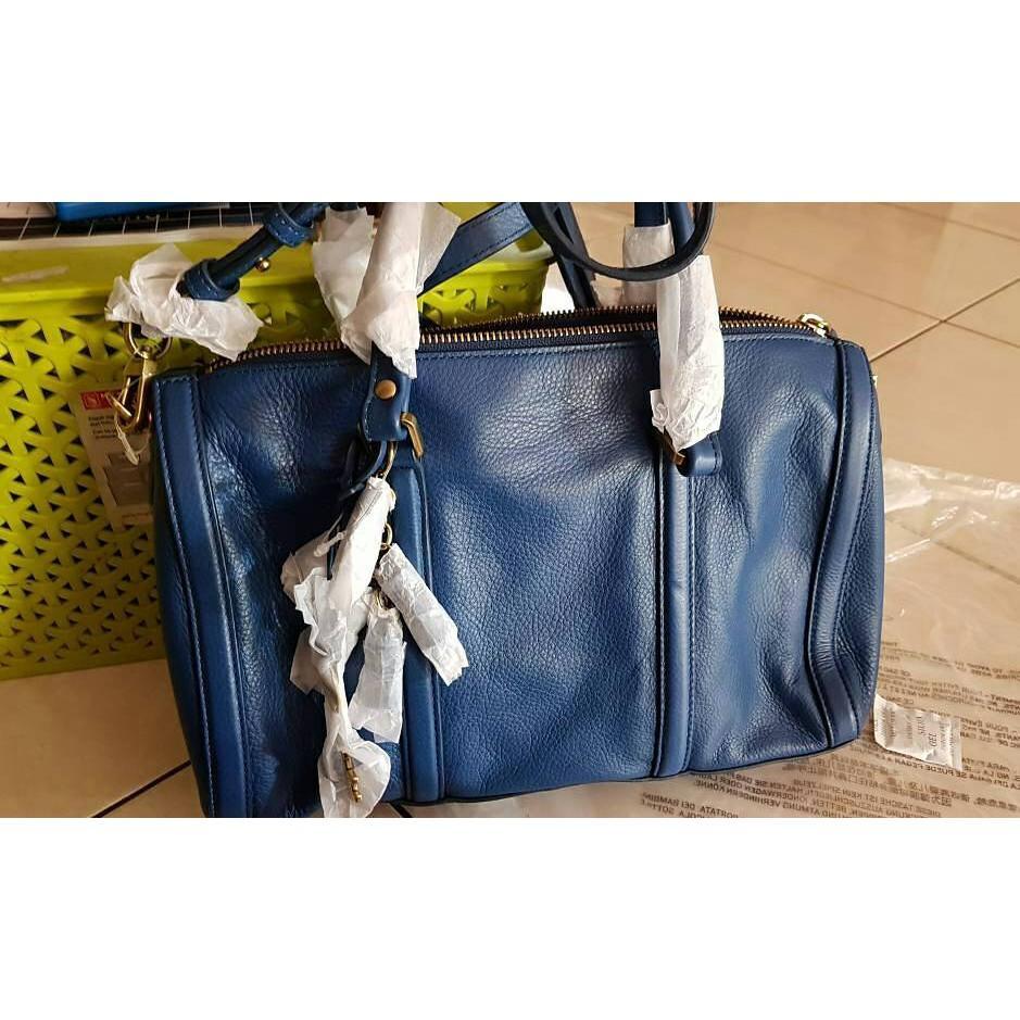 Fossil Kendall Satchel Blue Marine Leather Nwt. Tas Branded Original