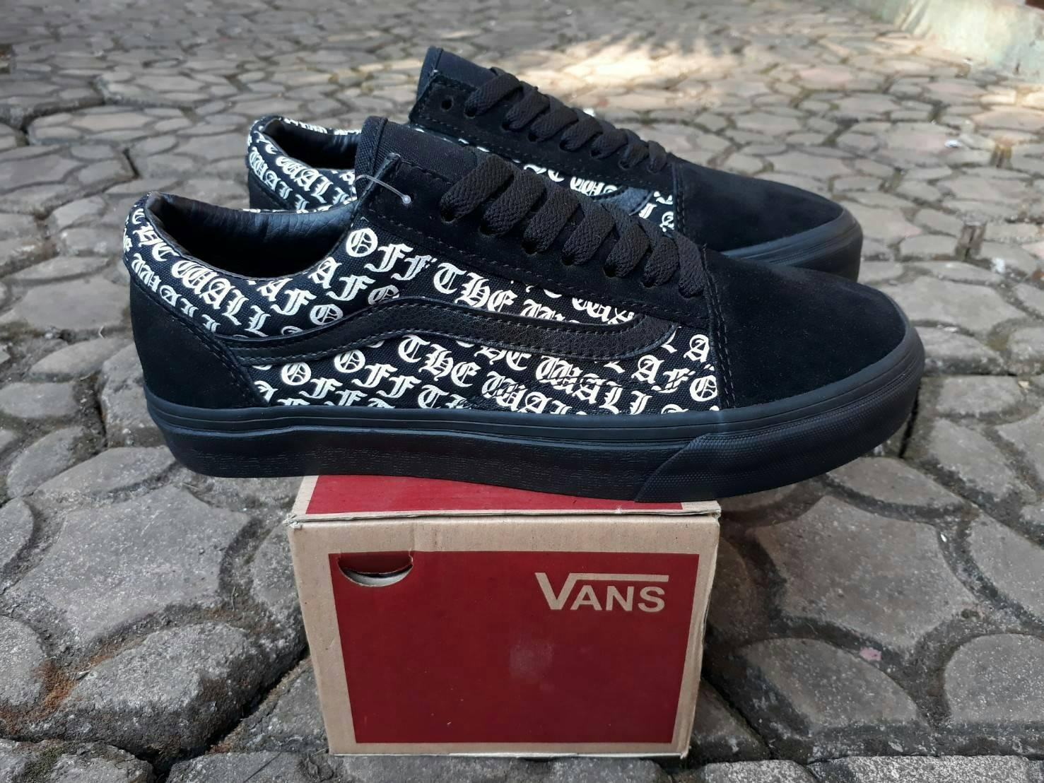 sepatu vans old skool off the wall all black waffle DT premium BNIB made in china