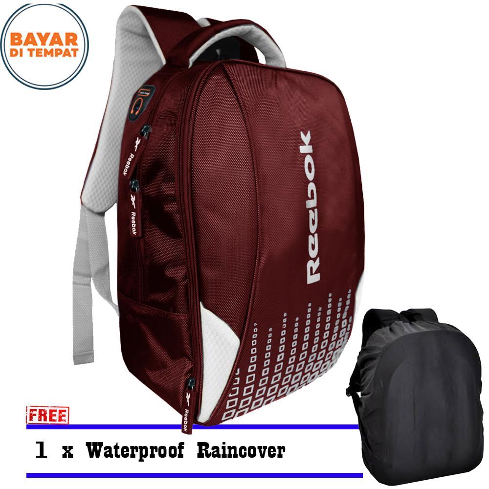 Tas Sport 63366R Tas Laptop Backpack Outdoor Tas Sekolah Tas Olahraga Tas Pria Tas Wanita Tas Kerja - Maroon + Raincover