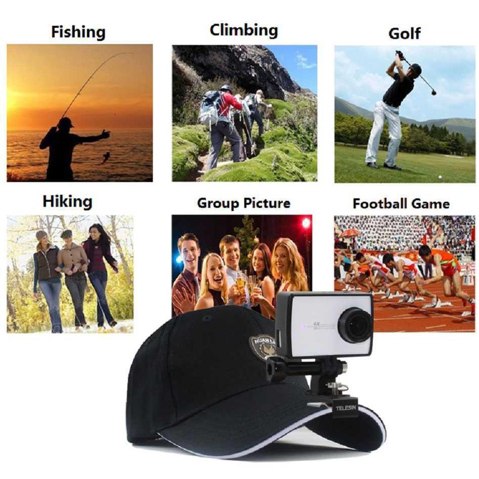 Telesin Cap Clip Mount for Xiaomi Yi / Xiaomi Yi 2 4K / GoPro / Stand Kamera Di Topi Terbaru Murah