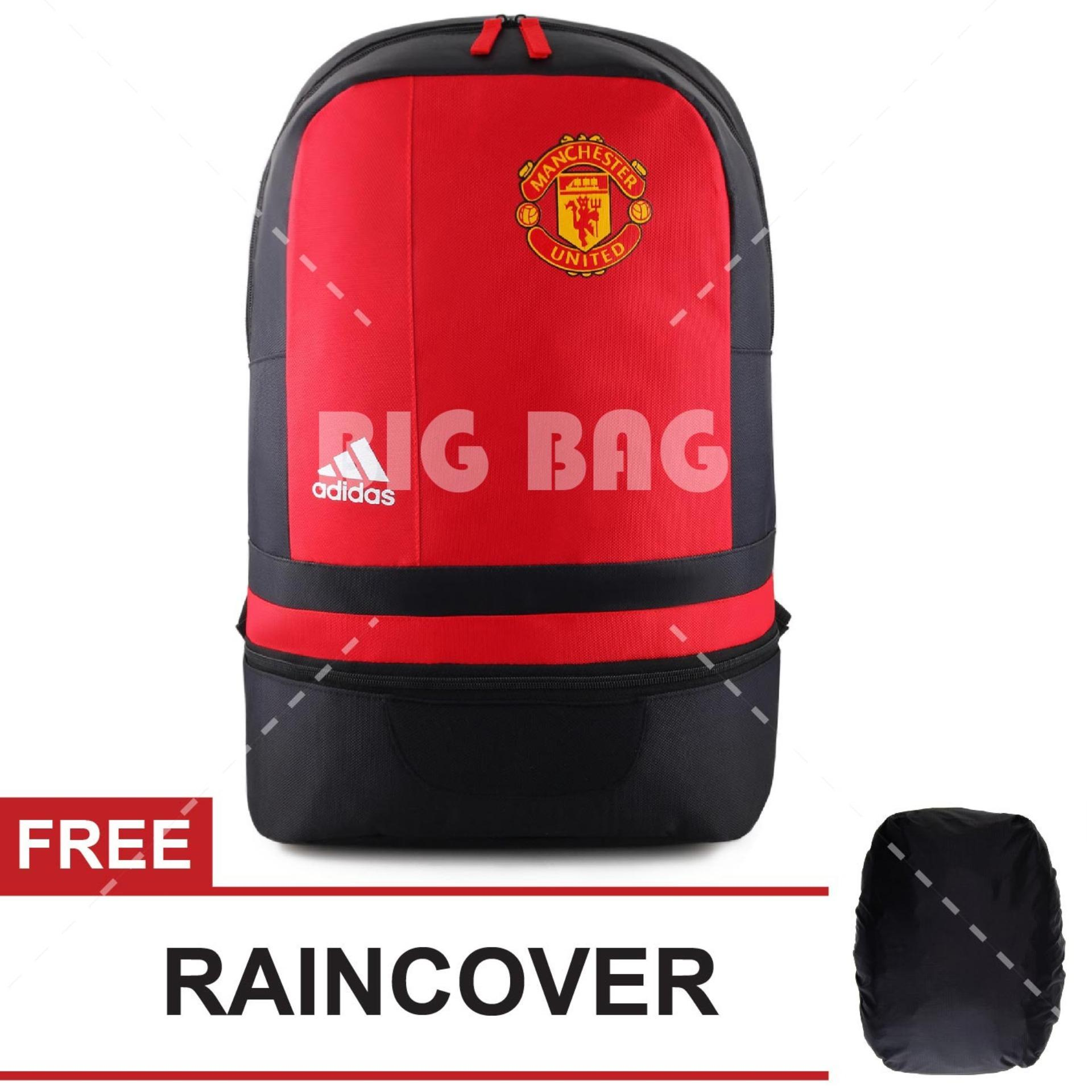 Tas Ransel Adidas Bola Pria M.U - Old Traffold Laptop Backpack Men Soccer Editions - Red + FREE Raincover
